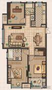 九洲新世界3室2厅2卫128平方米户型图