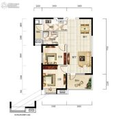 福星惠誉福星华府2室2厅1卫91平方米户型图