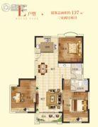 清华大溪地3室2厅2卫137平方米户型图