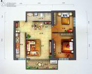 景园・盛世华都2室2厅1卫98平方米户型图