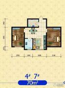 建发・观澜丽景2室2厅1卫70平方米户型图