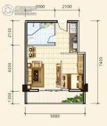 中天东方财巢大厦1室1厅1卫45平方米户型图