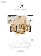 惠天然梅岭国际2室2厅2卫102平方米户型图
