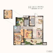 河枫御景3室2厅2卫114平方米户型图