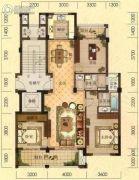 拓鑫新景家园3室2厅2卫130平方米户型图