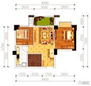 磁湖南郡2室2厅1卫56平方米户型图