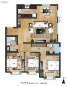 世界冠郡3室2厅2卫135平方米户型图