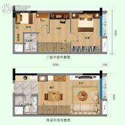尚东数字居1室2厅2卫50平方米户型图