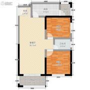 米兰广场2室2厅1卫65平方米户型图