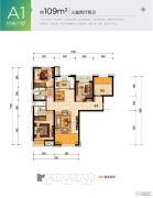 潮白河孔雀城盛景澜湾3室2厅2卫109平方米户型图