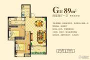 玖珑首府 小高层2室2厅1卫89平方米户型图