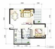 山海城邦・马街摩尔城1室2厅1卫77平方米户型图