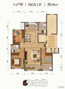 棠悦3室2厅2卫130平方米户型图