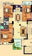 鸿泰华府3室2厅2卫129平方米户型图