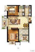 保利中央公园2室1厅1卫90平方米户型图