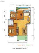 百江御城・龙脉3室2厅1卫104平方米户型图