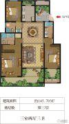 华盟天河湾3室2厅3卫145平方米户型图