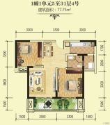 绵阳CBD万达广场2室2厅1卫77平方米户型图