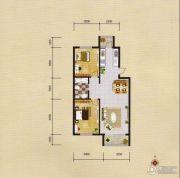 蓝远名城2室2厅2卫77平方米户型图