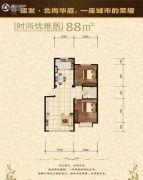 建发・北尚华庭2室2厅1卫88--89平方米户型图