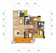 优格国际3室2厅2卫90平方米户型图