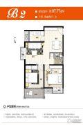 保利心语2室2厅1卫87平方米户型图