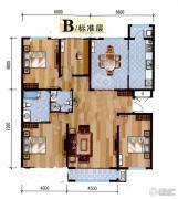 悦泽苑4室2厅2卫140平方米户型图
