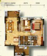 东田山畔华庭2室2厅2卫0平方米户型图