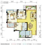 南湖凯旋广场3室2厅2卫86平方米户型图
