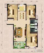 弘洋・拉菲庄园3室2厅2卫124平方米户型图