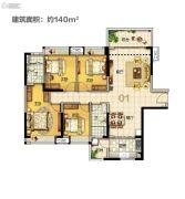 美的・花湾城4室2厅2卫140平方米户型图