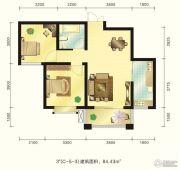 新元绿洲2室2厅1卫84平方米户型图