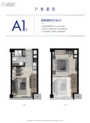 杭州泰禾中央广场1室1厅1卫38平方米户型图
