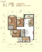 万城首座3室2厅2卫105平方米户型图