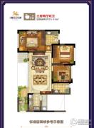 鸿通・春天江与城3室2厅2卫76平方米户型图