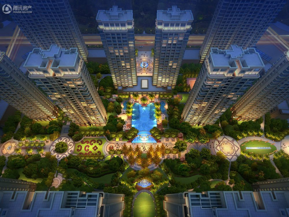 华龙·阳光星城内庭鸟瞰-夜景