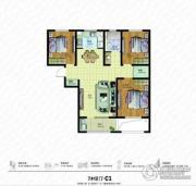 朗诗绿色街区3室2厅1卫115平方米户型图