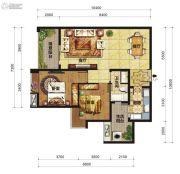 中交锦湾一期2室2厅1卫96平方米户型图