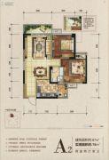 湖悦2室2厅1卫67平方米户型图