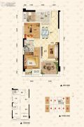泽科弹子石中心2室2厅1卫58平方米户型图