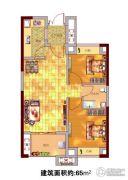 贵安新天地2室2厅1卫65平方米户型图