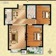 方晖・京港国际2室2厅1卫90平方米户型图