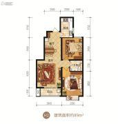 众美凤凰府2室2厅1卫89平方米户型图