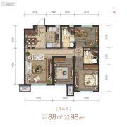 沈阳龙湖・天宸原著3室2厅2卫88平方米户型图