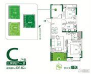 泰达青筑3室2厅1卫103平方米户型图