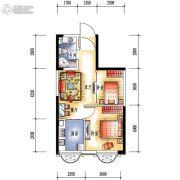 中央学府2室2厅1卫55平方米户型图