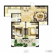 冠城大通棕榈湾2室2厅1卫88平方米户型图