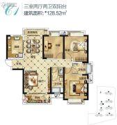 中国核建锦城3室2厅2卫128平方米户型图