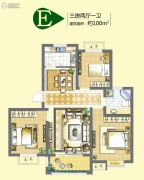 公园里3室2厅1卫100平方米户型图