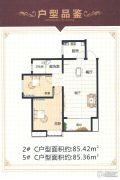 棕榈泉国际公寓2室2厅1卫85平方米户型图